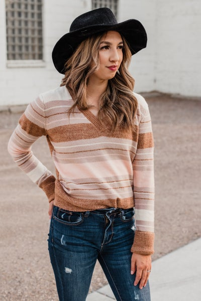 Mocha & Rose Striped Sweater