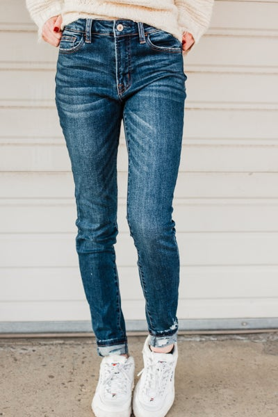 *.Erin's Closet* Dark Washed Cuffed Vervet Denim