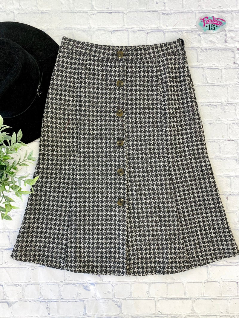 Houndstooth Skirt w/ Button Detail