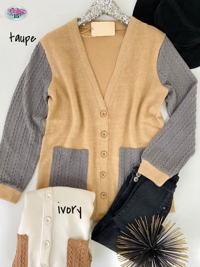 .Cardigan w/ Textured Sleeves