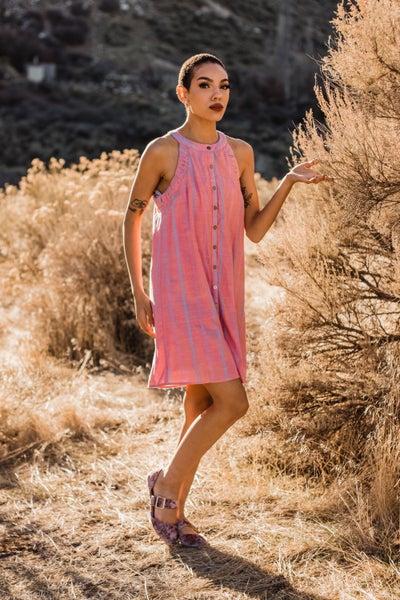 Button-Up Blush Tunic Dress