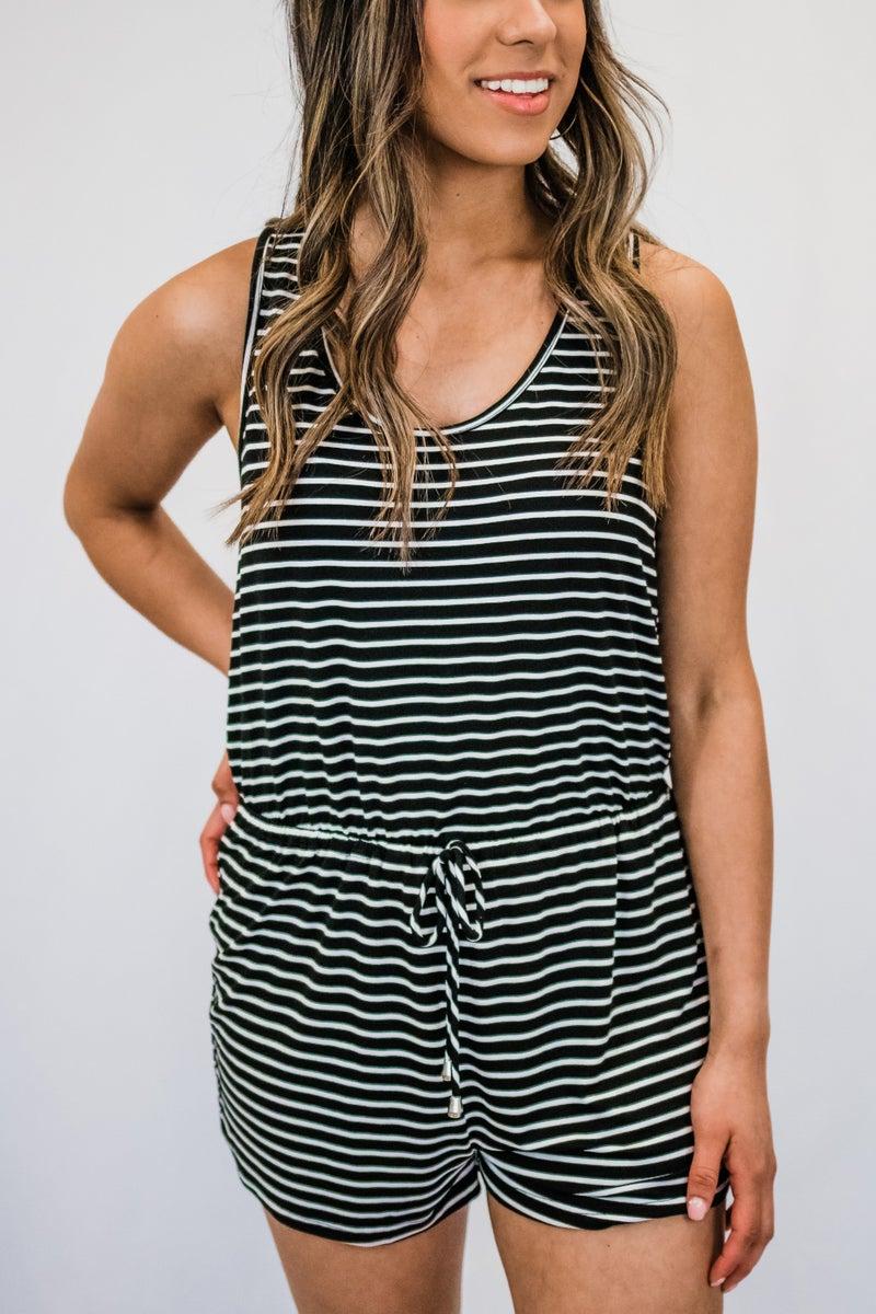 Striped Sleeveless Romper