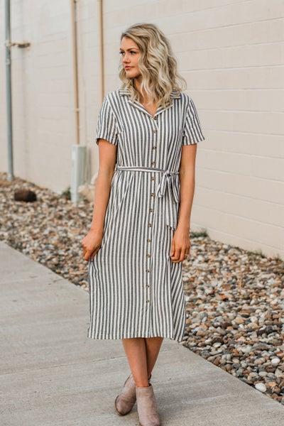 Striped Button-Down Dress w/ Tie