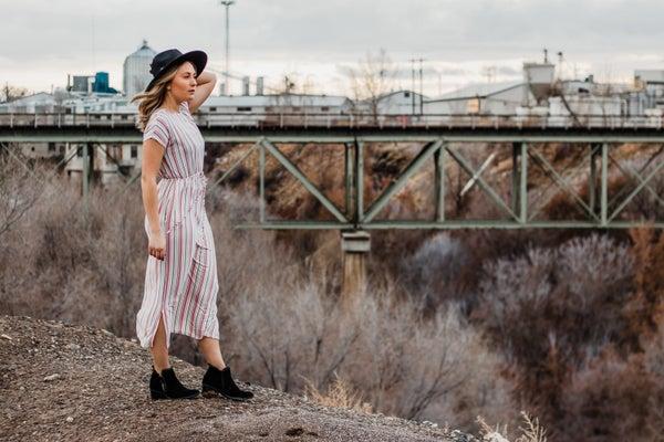 Mauve Striped Midi Dress