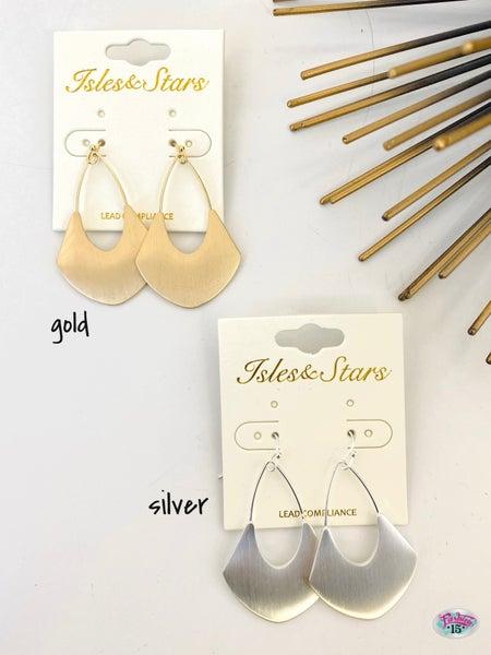 .Brushed Metal Earrings