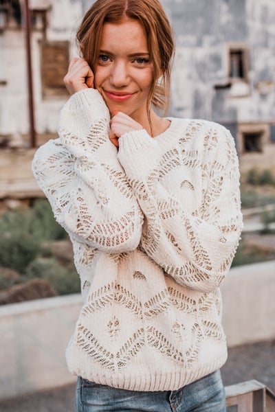 *Erin's Closet* Cream Knit Top w/ Gold Specks
