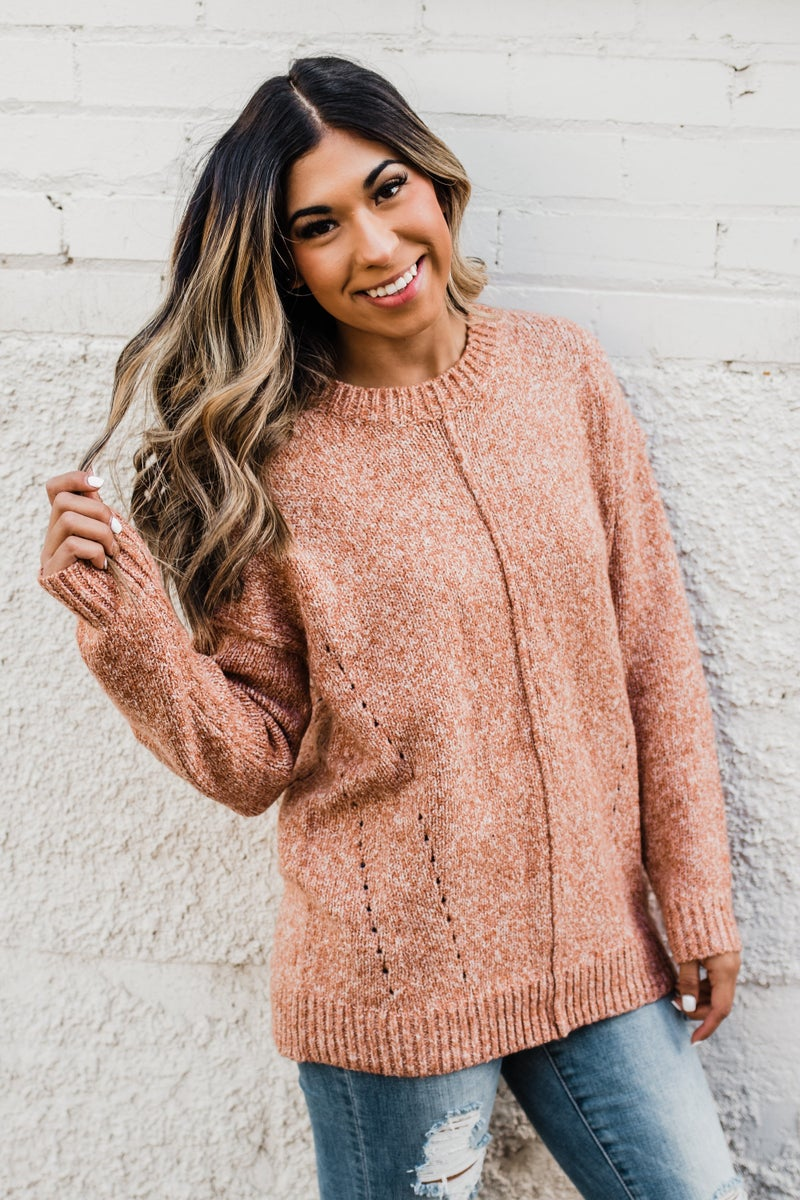 Ivory & Rust Knit Top