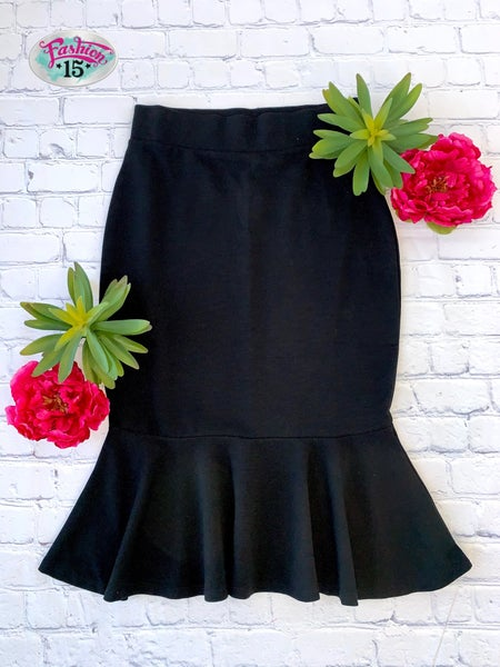 Plus Black Ponte Skirt