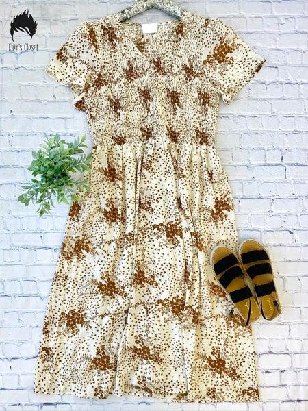*Erin's Closet* Plus Ivory Floral Dress
