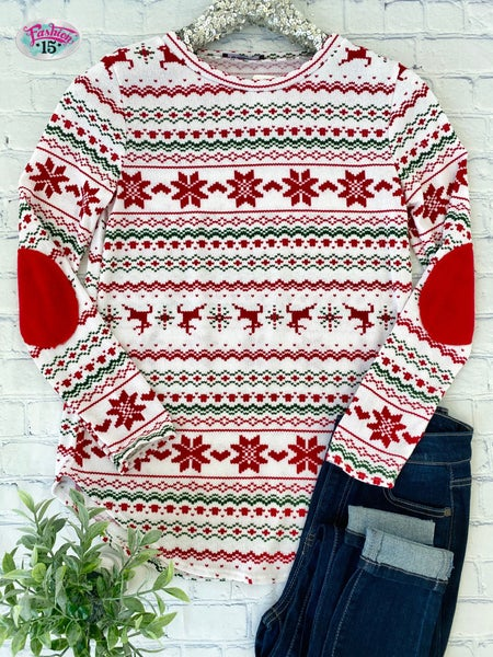 WINTER- Red & White Reindeer Top