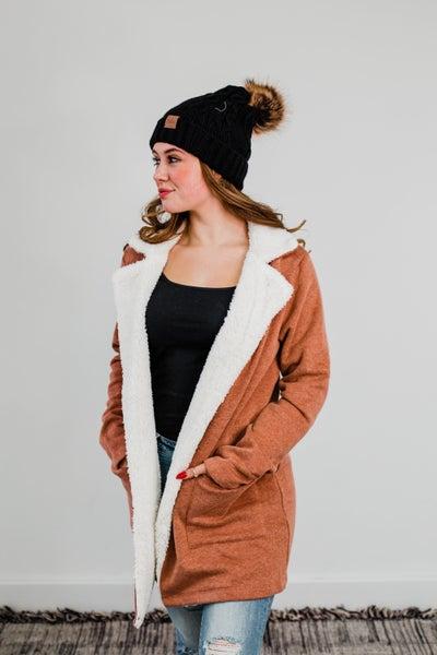 .Light Rust Jacket w/ Faux Fur Detail