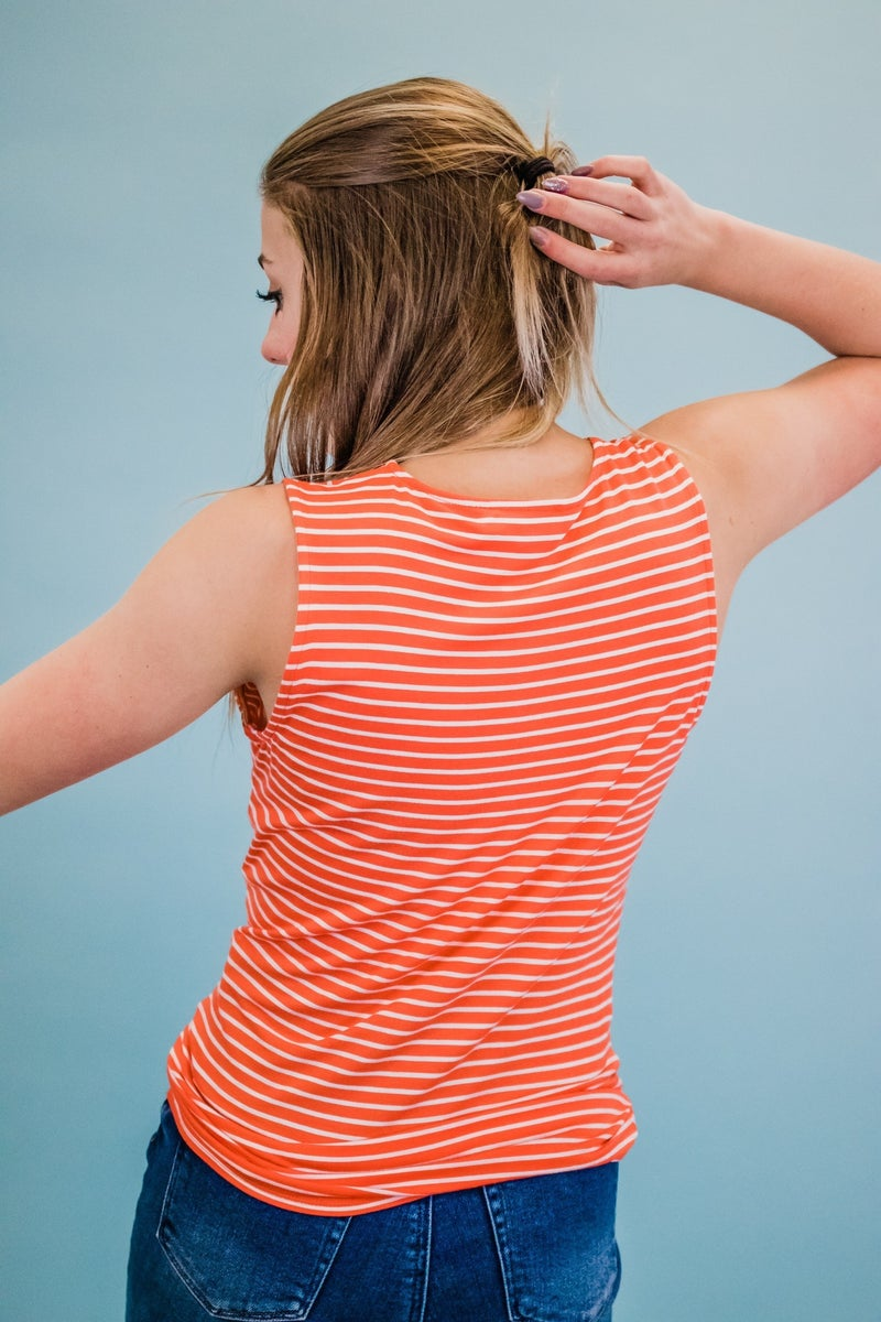 ~Striped Knotted Tank Top