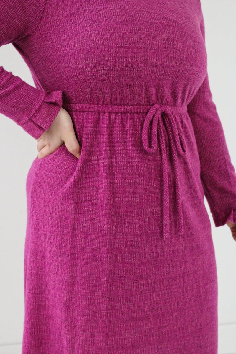 Magenta Mock Neck Dress