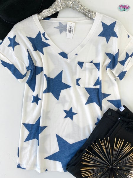 Ivory & Navy Star Top