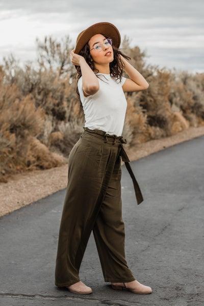 Olive Paper Bag Pants
