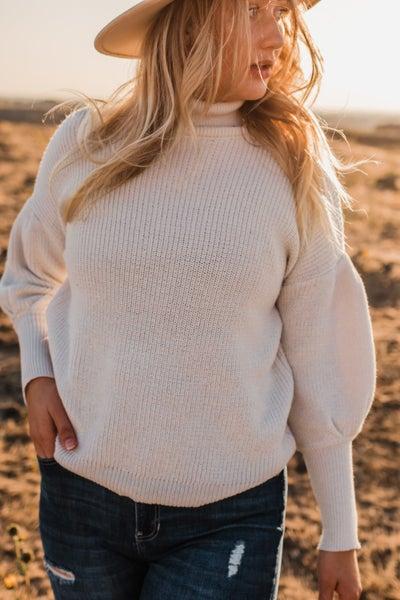 Puff Sleeve Turtleneck Sweater