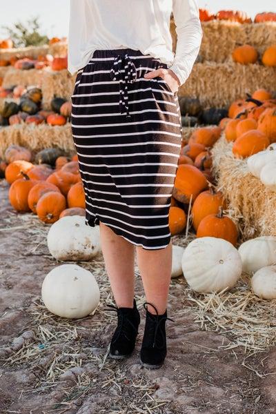 Black & Ivory Striped Skirt w/ Drawstring