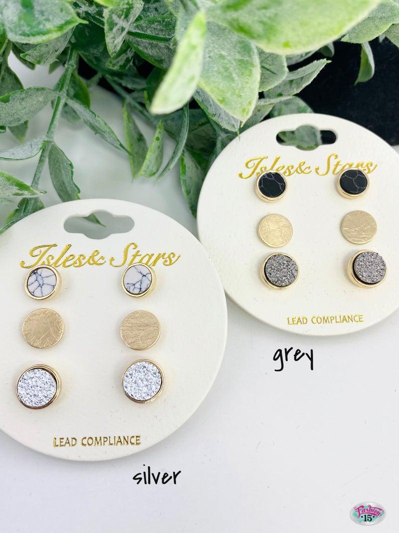 .Trio Gold Earrings