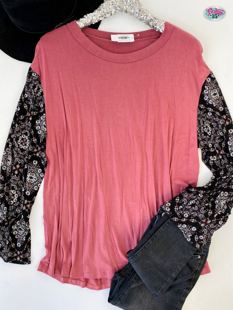 .Plus Marsala Top w/ Floral Sleeves