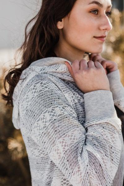 Ivory & Grey Knit Striped Cardigan
