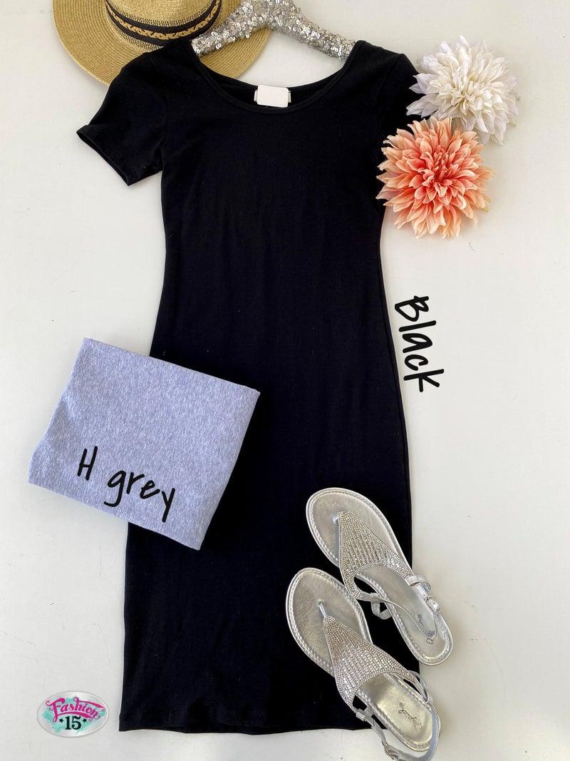 Solid Short Sleeve Dress