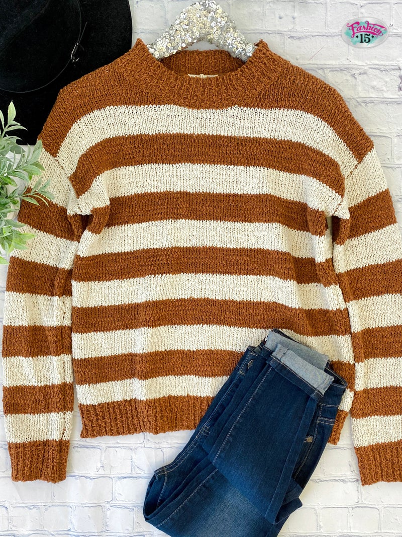 Rust & Ivory Striped Knit Top