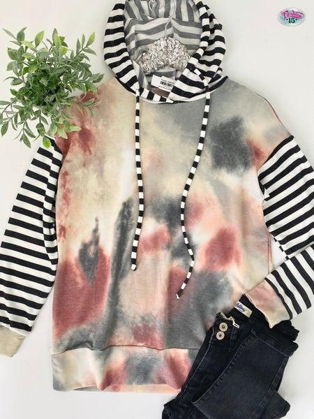 ~Stripes & Tye Dye Hoodie