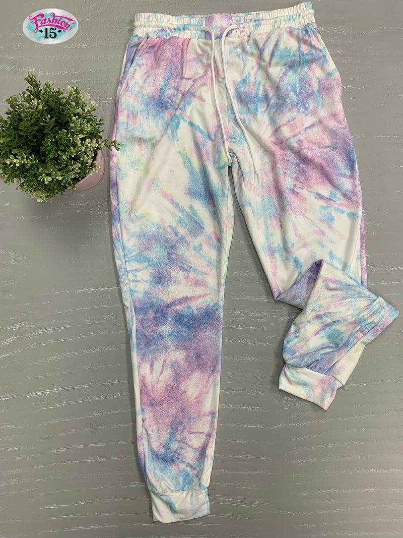 Pink & Blue Tye Dye Joggers