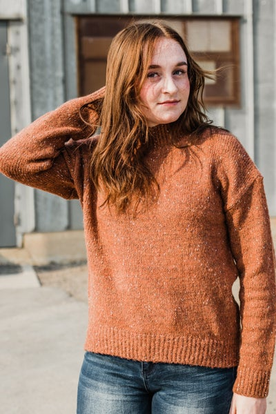 Rust Mock Neck Knit Top