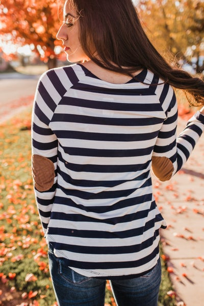 Striped Top w/ Elbow Sleeves