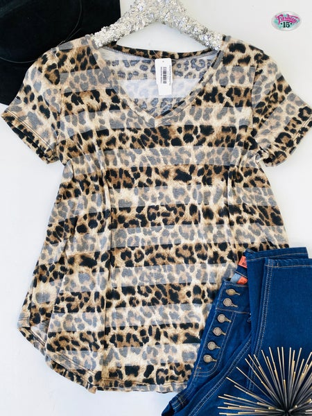 .Animal Print Striped Top