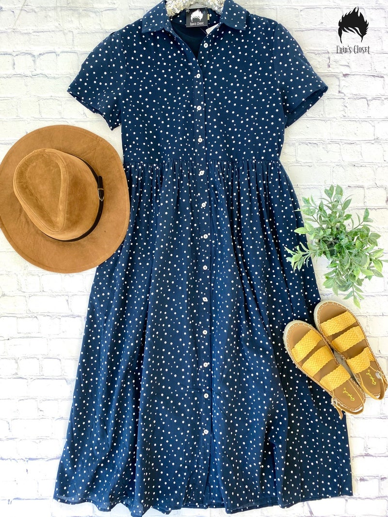 *Erin's Closet* Navy Dress w/ Ivory Polka Dots