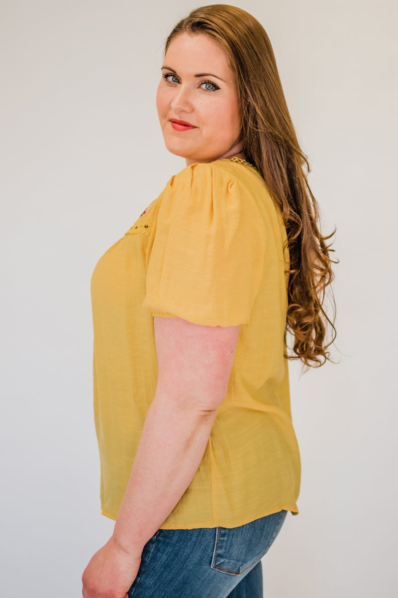 ~Mustard Floral Top w/ Lace Detail