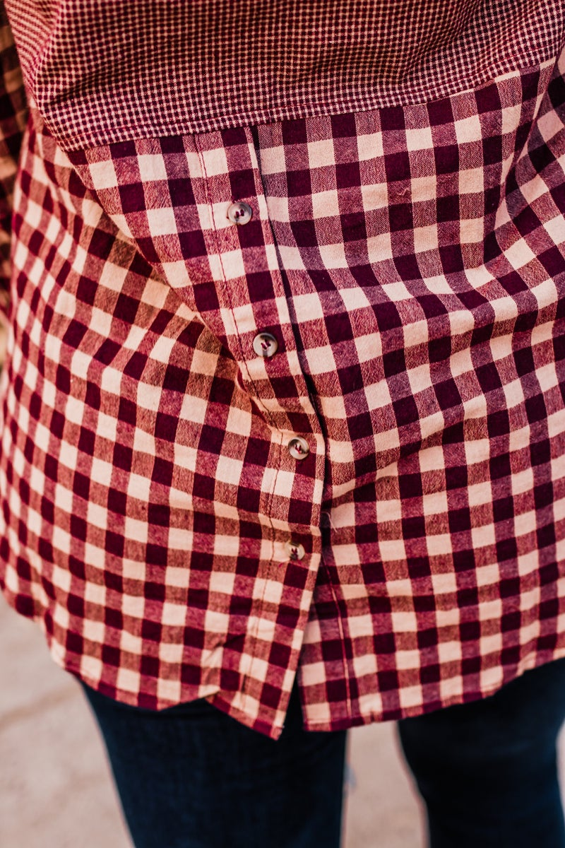 Wine & Taupe Button-Up Plaid Top