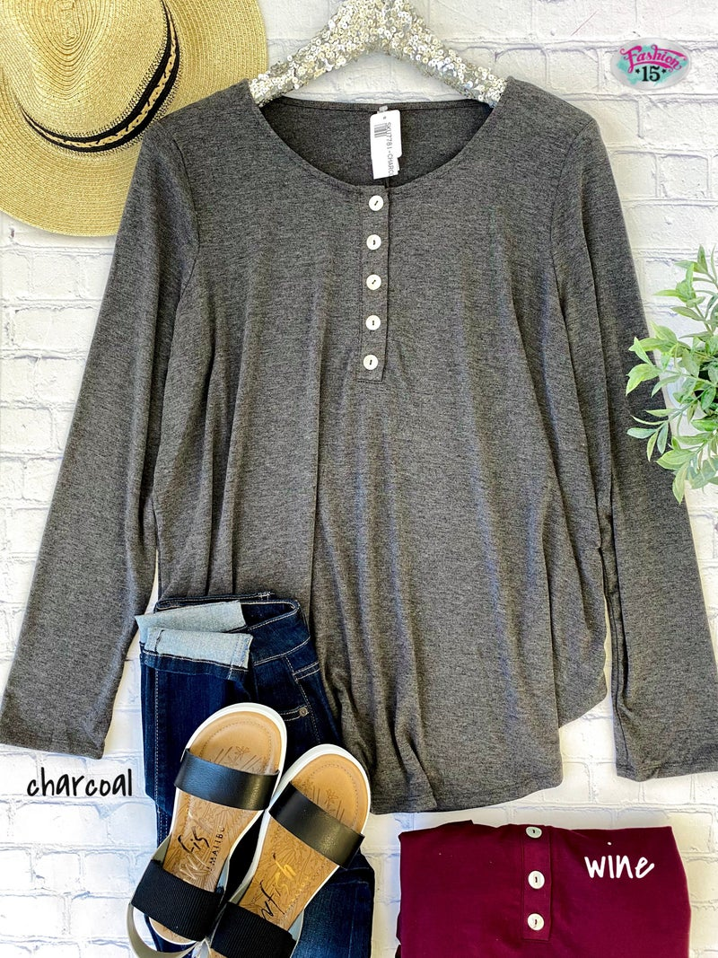 Plus Long Sleeve Top w/ Dolphin Buttons