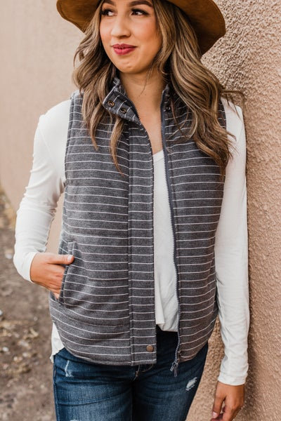 Ivory & Grey Striped Vest w/ Zipper