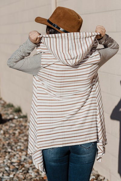 Contrasting Striped Cardigan