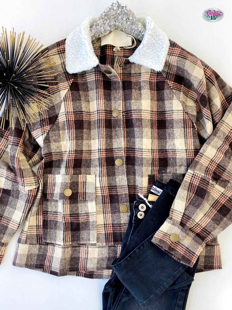 .Plaid Button-Up Jacket w/ Sherpa Detail