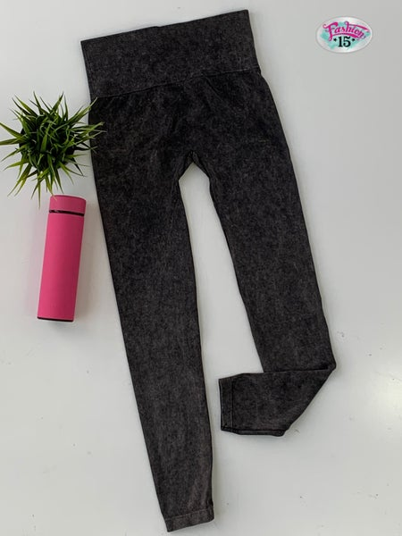 Black Mineral Washed Leggings