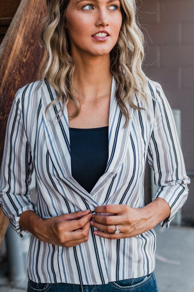*Erin's Closet* Navy & Ivory Striped Blazer