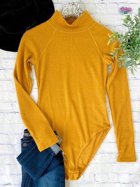 Mustard Waffle Knit Bodysuit
