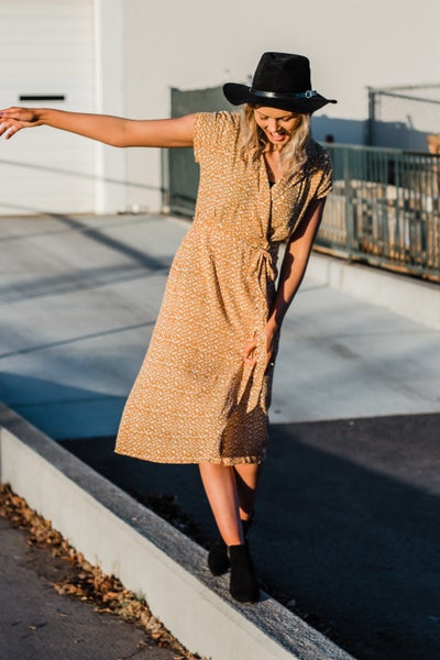 Mustard Wrap Dress w/ Tie