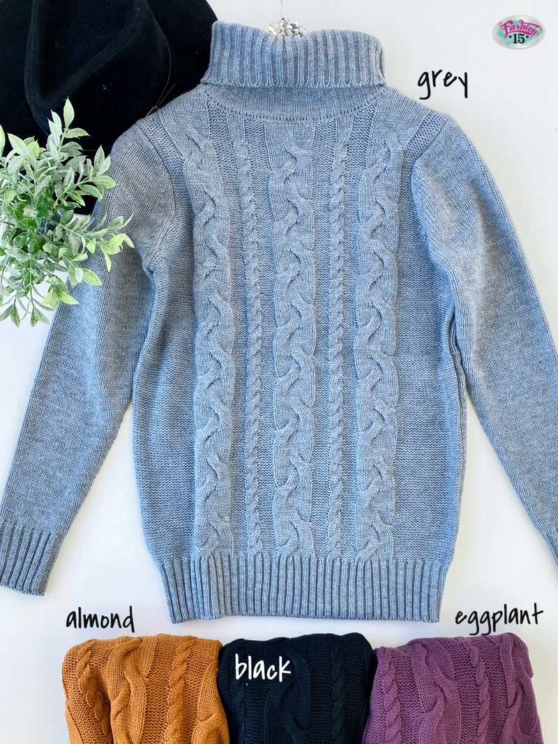 .Turtle Neck Tunic Knit Sweater
