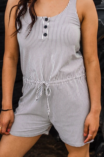Striped Romper w/ Button Detail