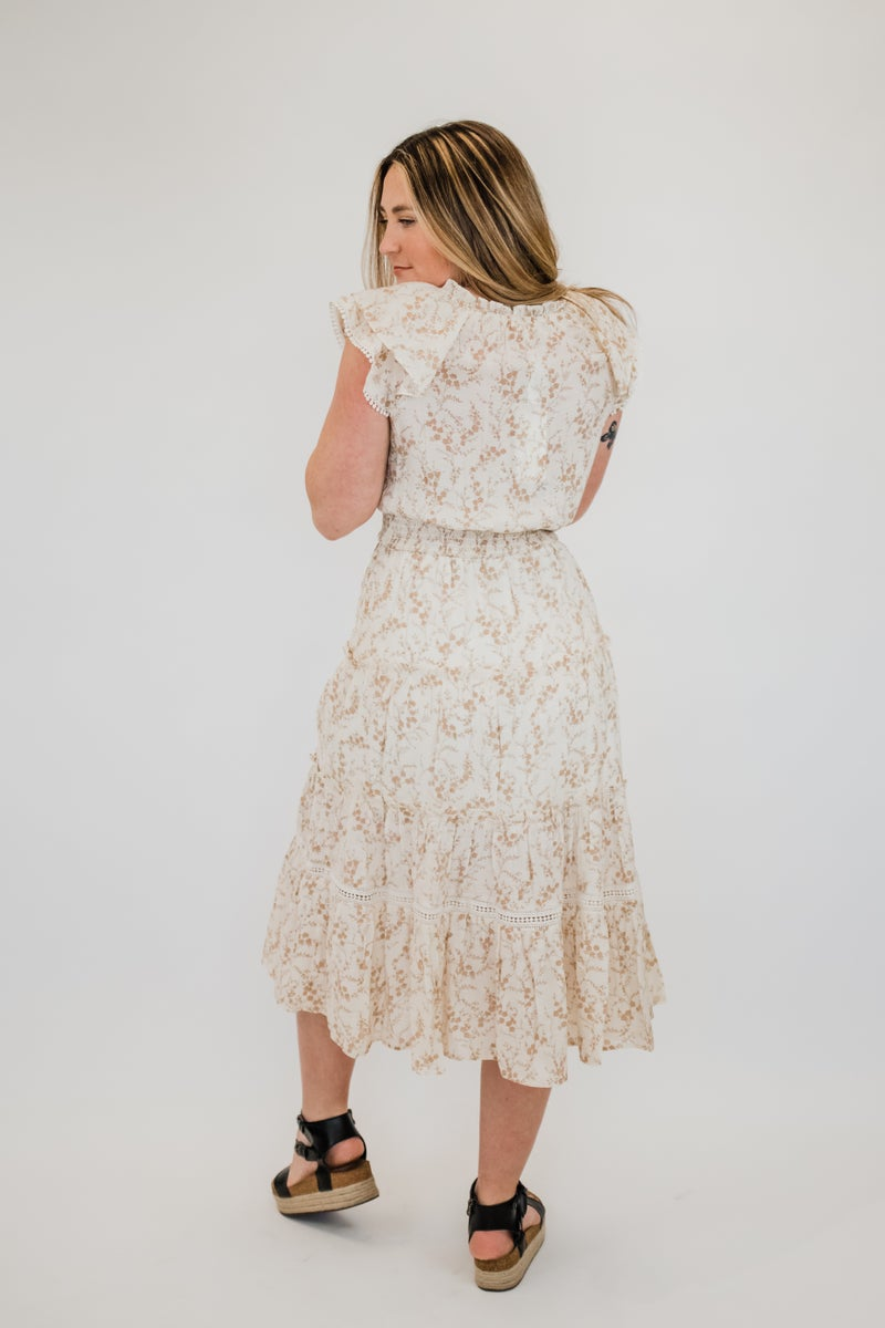 Floral Tiered Dress w/ Tie