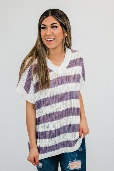 Mauve & Ivory Striped Knit Top