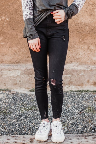 .Black Skinny Crop Denim