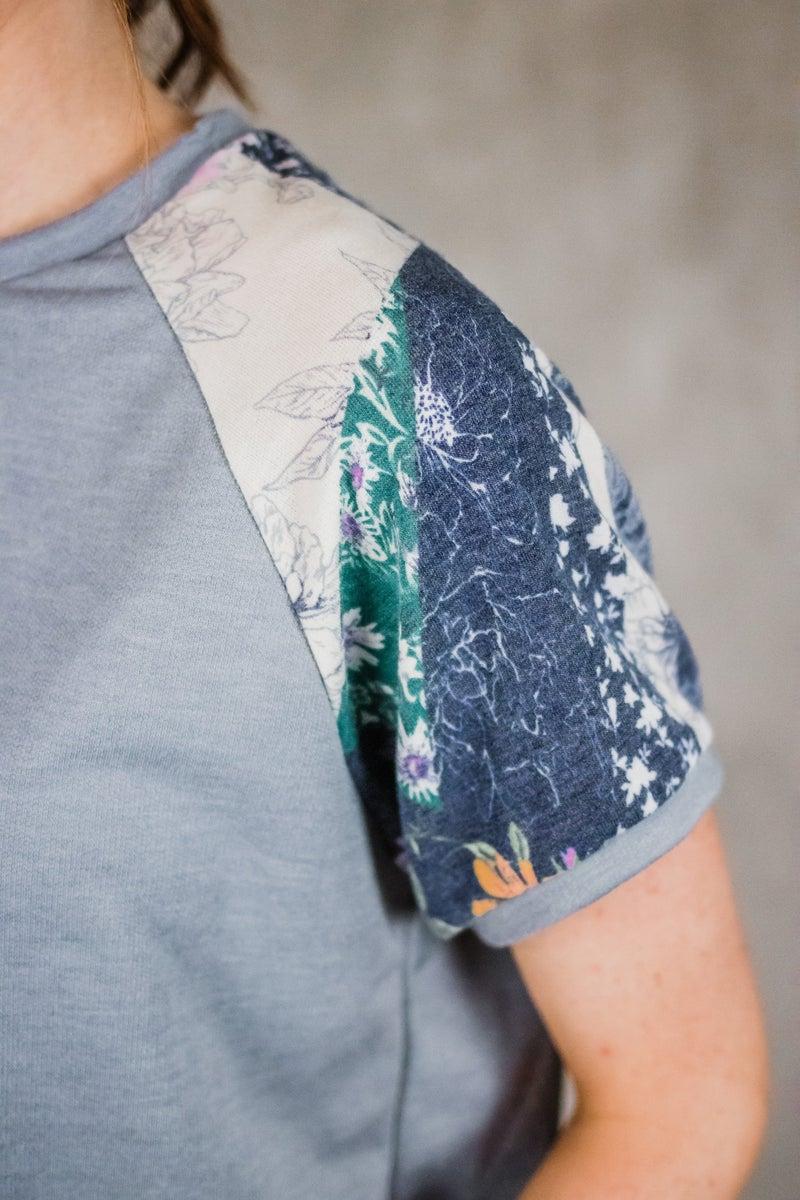 Solid Top w/ Floral Sleeves