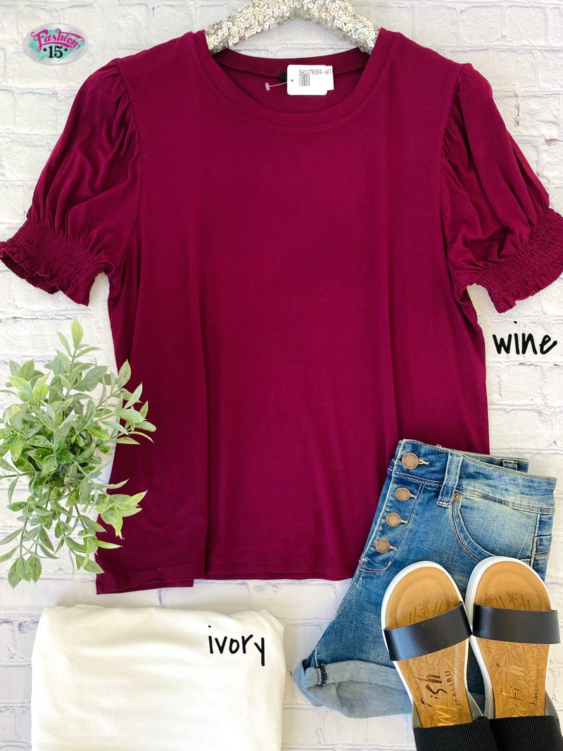 Plus Solid Puff Sleeve Top