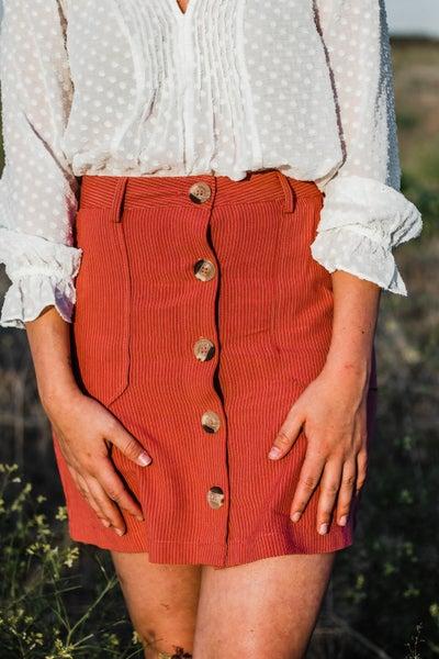 Marsala Pin Striped Skirt